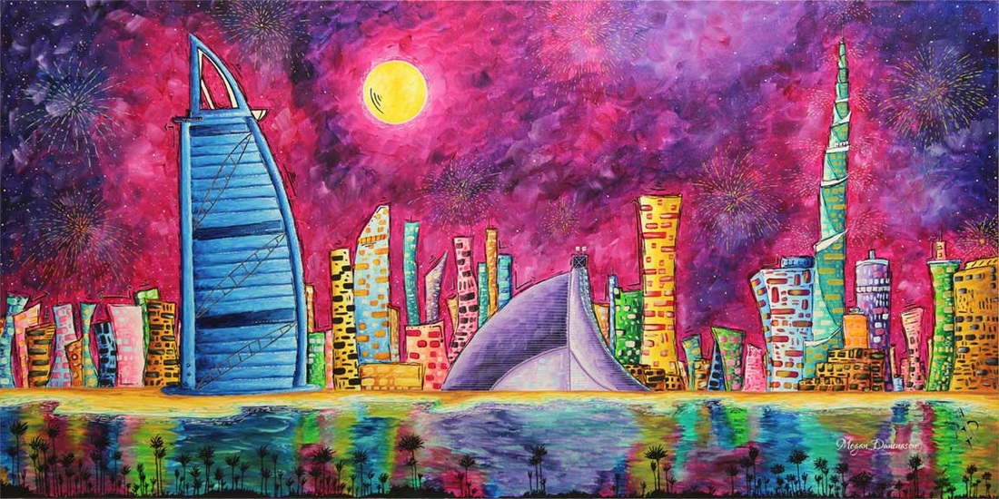 PoP Art Dubai City Skyline Original Painting