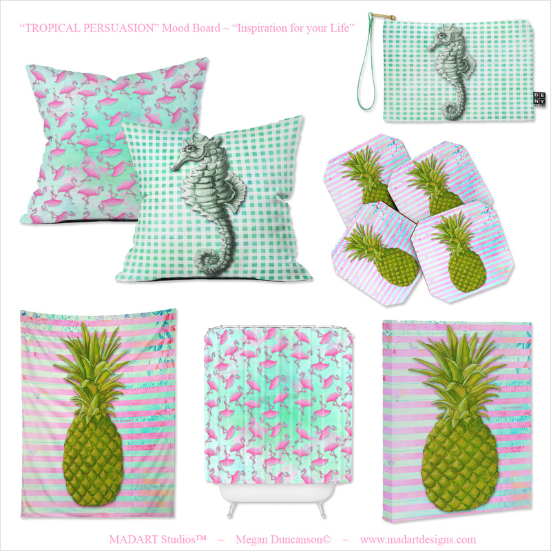 Pineapple Flamingo Seahorse Art Products Deny Designs