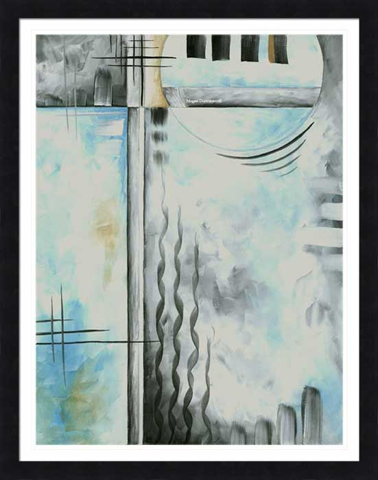 Abstract Blue Gray Framed Fine Art Prints by MADART