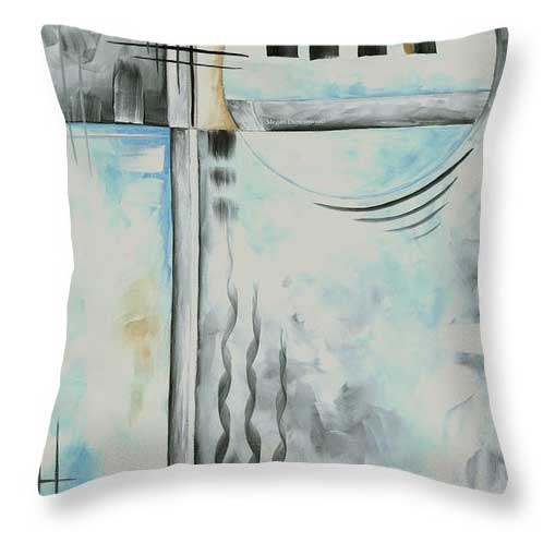 Abstract Blue Gray Throw Pillow Home Decor by MADART