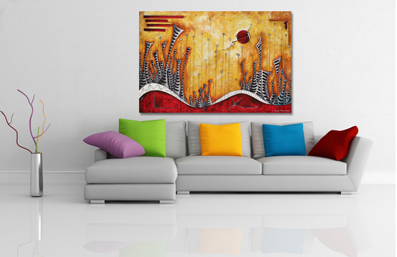 Oversized PoP Art Cityscape Painting Room Mockup