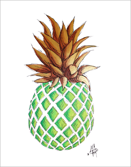 Green Gold Pineapple Tropical Coastal Original Painting