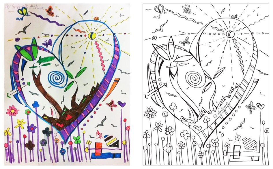 Heart Trees Whimsical Flowers Coloring Page