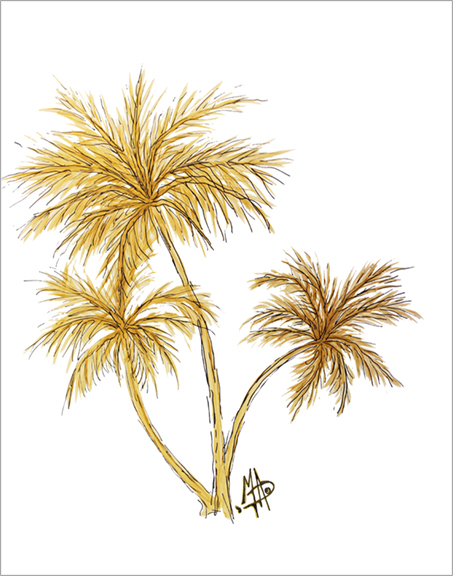 Gold Palm Tress Tropical Original Painting