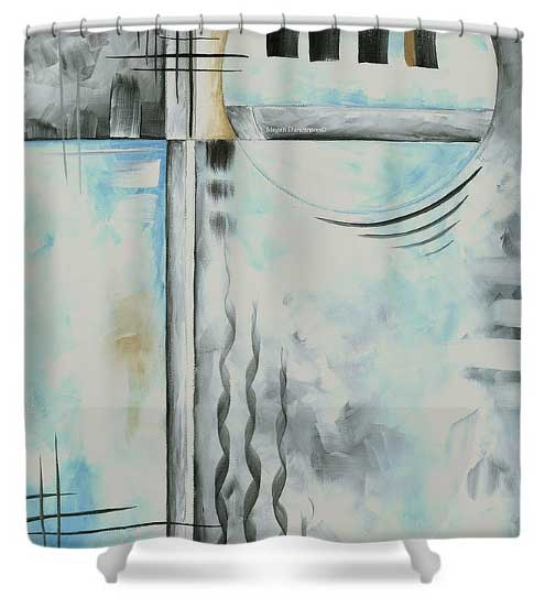 Abstract Blue Gray Shower Curtain Home Decor by MADART