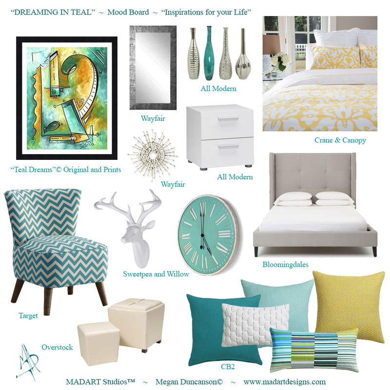 Teal Interior Design Mood Board
