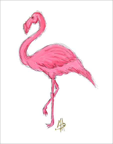 Pink Flamingo Original Tropical Coastal Painting