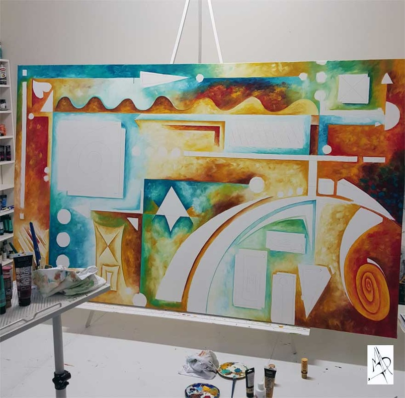 Abstract Painting Contemporary Art Work in Progress Photo