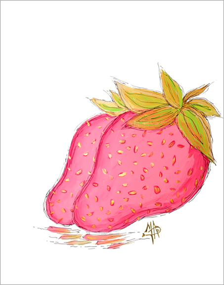 Pink Gold Strawberry Original Fruit Painting
