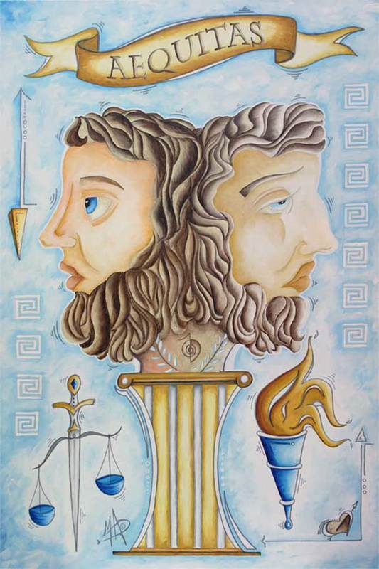 Aequitas the Greek God Janus Original Law and Justice Painting by Megan Duncanson