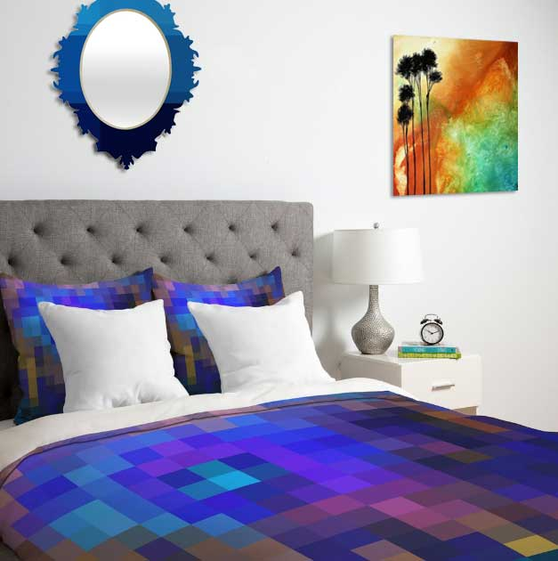 Colorful, trendy pixel designs on duvet covers, mirrors and more, perfect for the modern home