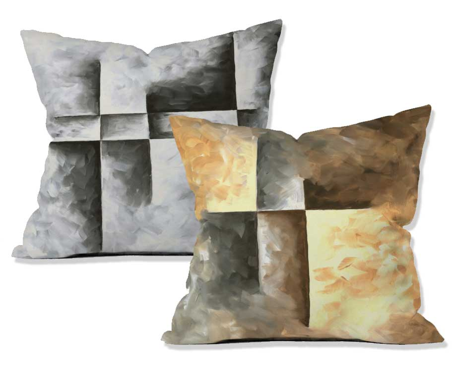 Neutral toned abstract paintings on home decor and pillows from Deny Designs by Megan Duncanson of MADART Studios