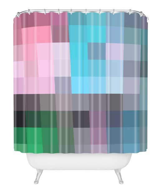 Colorful, trendy pixel designs on shower curtains from Deny Designs perfect for the modern home