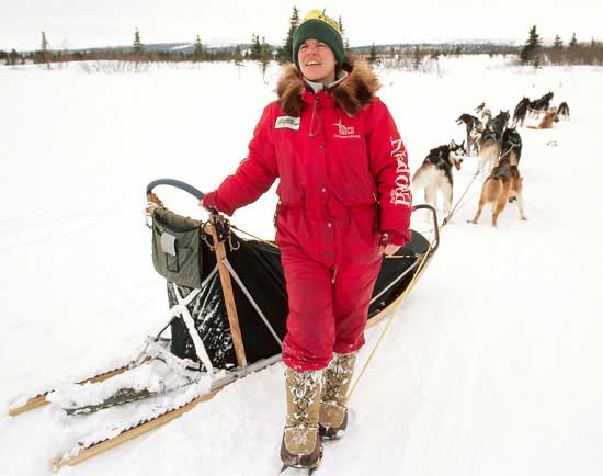 Susan Butcher and Her Team of Sled Dogs